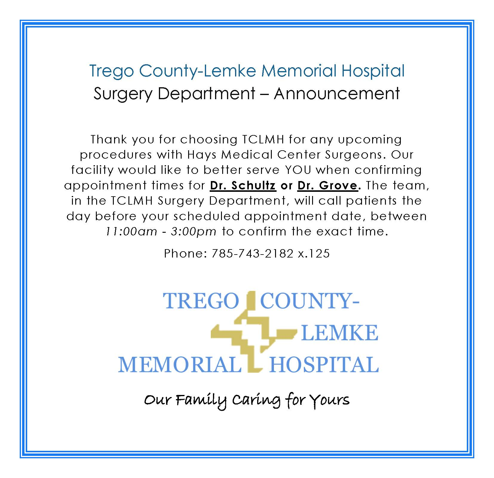 Surgery Announcement